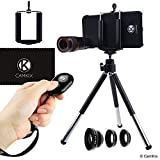 Camera Bluetooth Shutter Remote and Lens Kit for iPhone 6 / 6S and 6 Plus/6s Plus- 8x Telephoto, Fisheye, 2in1 Macro + Wide Angle Lens / Tripod / Phone Holder / Hard Case