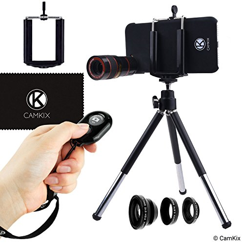 CamKix Camera Bluetooth Shutter Remote & Lens Kit Compatble with iPhone 6 / 6S and 6 Plus/6s Plus- 8X Telephoto, Fisheye, 2in1 Macro + Wide Angle Lens/Tripod/Phone Holder/Hard Case