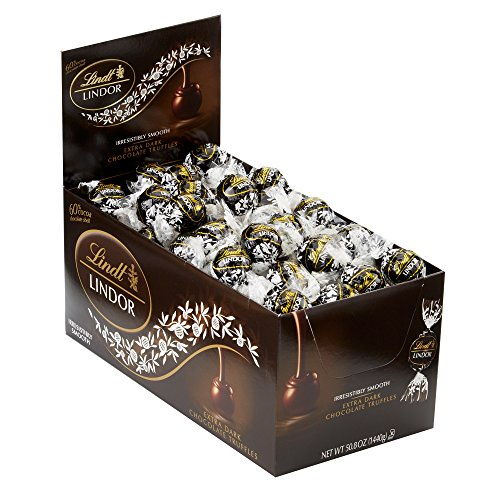 Lindt LINDOR 60% Extra Dark Chocolate Truffles, Kosher, 120 Count Box