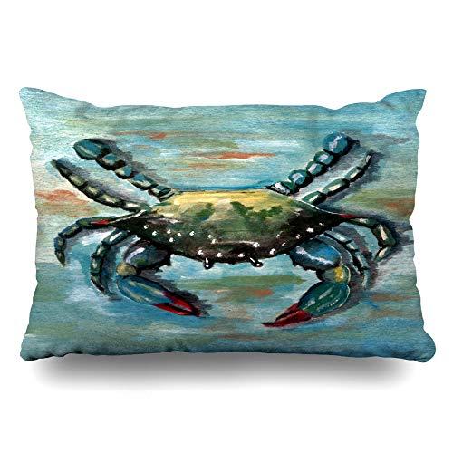 Ahawoso Throw Pillow Cover Pillowcase Chesapeake Blue Crab On Bay Decorative Pillow Case Home Decor Queen 20x30 Inches Cushion Case (Blue Crabs Chesapeake)