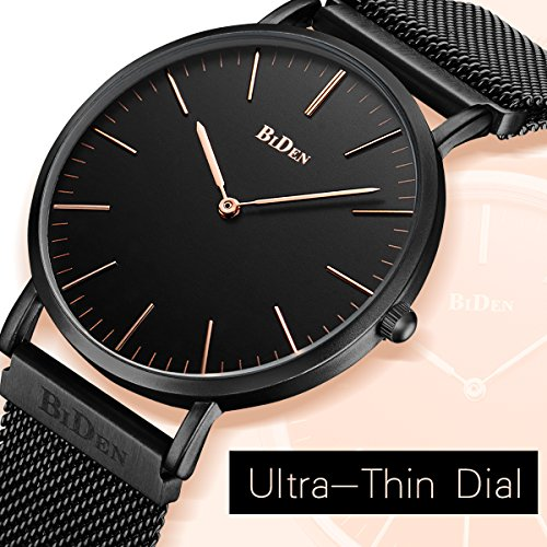 Watch,Mens Women Watch Luxury Fashion Black/Rose Gold Super Thin Case Waterproof Analog Quartz Magnetic Apple Watch Band Wrist Watch
