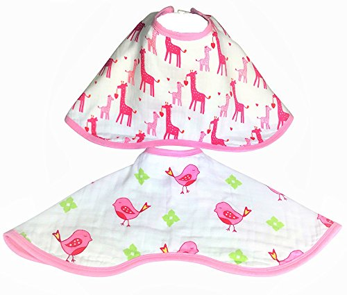 Two Muslin Baby Burp Bibs & Baby Burp Cloths. Multi Layer Soft, Light, Absorbent Baby Bibs For Burping, Cleaning Drools & Feeding. Burpy Bibs For Girls. A Perfect Baby Gift, Baby Shower Gifts.