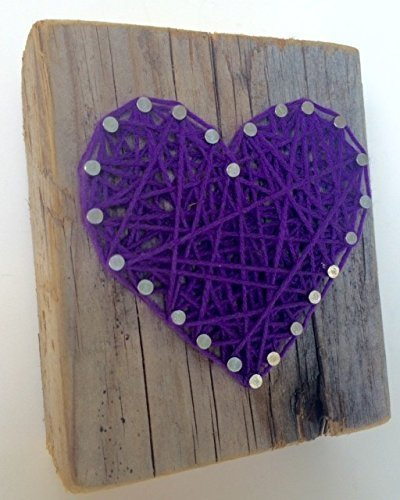 Sweet and small rustic purple string art wooden heart block - A unique gift for Mother's Day, Weddings, Anniversaries, Valentine's Day, Birthdays, New baby girls and just because gift. by Nail it Art