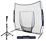 PowerNet Baseball Softball Practice Net 7x7 with Deluxe Tee (Navy)   Practice Hitting, Pitching, Batting, Fielding   Portable, Backstop, Training Aid, Lg Mouth, Bow frame   Training Equipment Bundle