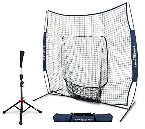 Single Batting Tee - PowerNet Baseball Softball Practice Net 7x7 with Deluxe Tee (Navy) | Practice Hitting, Pitching, Batting, Fielding | Portable, Backstop, Training Aid, Lg Mouth, Bow Frame | Training Equipment Bundle