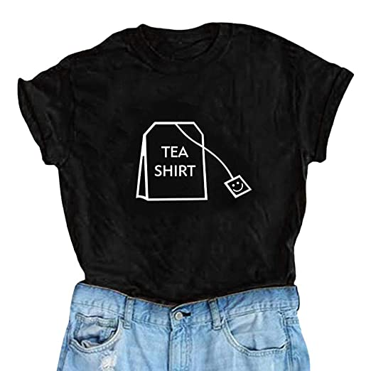 04466b96f14c SSYUNO Women Girl Funny Cotton Short Sleeve Tea Shirts Cute Junior Graphic  Tee Top Blouse Black