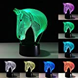 3D Lamp Horse LED Illusion Animal Desk Table Night Light, Tiscen 7 Color Touch Lamp for Kids, Girls, Family Holiday Gift, Home Office Theme Decoration