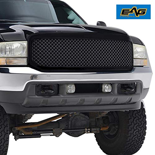 EAG Replacement Grille Mesh Front Black ABS Upper Grill Fit for 99-04 Ford F250/F350/F450 Super Duty