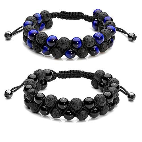 Jovivi 2pcs Mens Lava Rock Stone Essential Oil Bracelet Tiger Eye Agate Beads Double Layer Bracelets Macrame Adjustable Braided