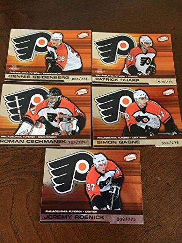 (2002-03 Pacific Atomic Hobby Philadelphia Flyers Team Set Rare 5 Cards Patrick Sharp RC)