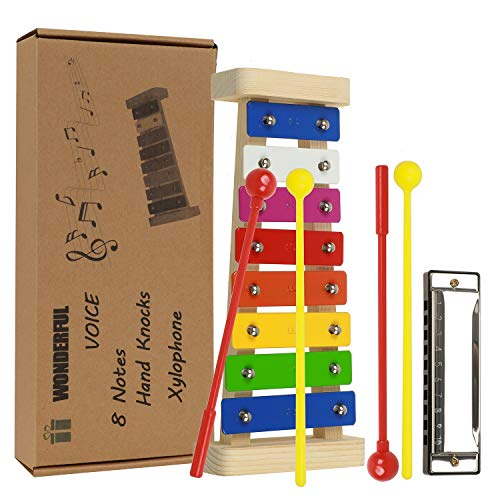 Xylophone for Kids Musical Toys Musical Instruments Glockenspiel Musical Instrument Set for Kids with 4 Plastic Mallets, Music Card, Kid Harmonica, Best Birthday/Holiday Gift Idea For - Mallets Plastic Xylophone