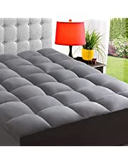ELEMUSE Mattress Topper, Extra Thick Mattress Pad Cover, Plush Quilted Pillowtop with 8-21 Inch Deep Pocket, Soft Hypoallergenic Hypoallergenic Down Alternative Fill