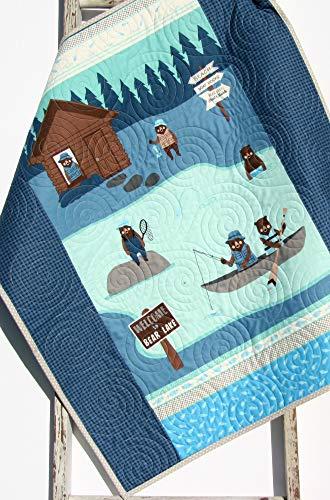 Boy Quilt Modern Baby Bedding Woodland Bears Navy Blue Grey Fishing Lodge Handmade Baby Bedding Crib Blanket ()