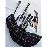 Scottish Great Highland Bagpipe Rosewood Black Silver Mounts with Tutor Book,Reeds,Drone,Bagpipe Hemp