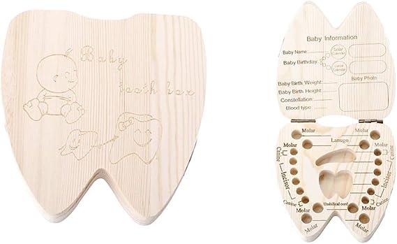 Porta dientes de leche - niño - niña - caja de madera - escrito en inglés - forma de diente - idea de regalo original: Amazon.es: Bebé
