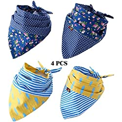 FUNPET 4 Pack Dog Bandana Triangle Bibs Scarfs Accessories for Pet Cats and Puppies