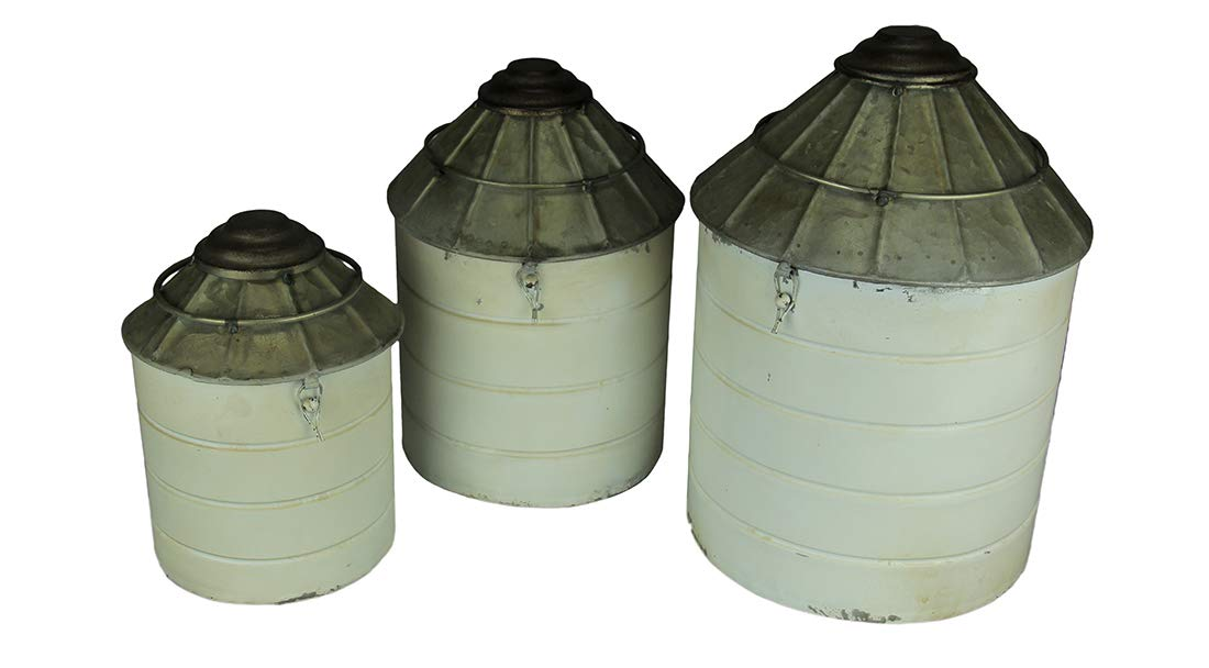 Things2Die4 Vintage Farmhouse Tin Silo Canister Set of 3