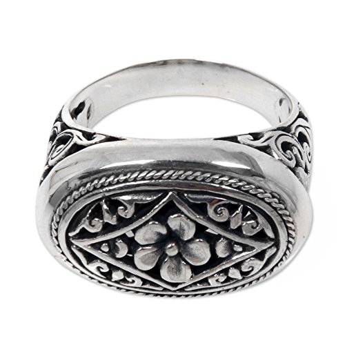 NOVICA .925 Sterling Silver Ornate Floral Motif Cocktail Ring, Hibiscus Gate' (Hibiscus Silver Ring)
