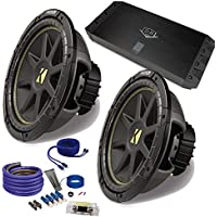 Kicker 2 12 Comp Subwoofers and a DUBa1450 900 Watt Amp + Amp wire kit Package