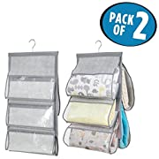 mDesign Hanging Nursery Closet Storage Organizers for Blankets, Pillows - Pack of 2, 5 Pockets Each, Gray
