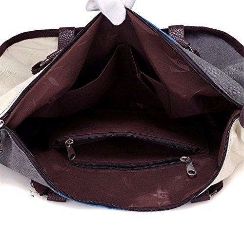 Hit color de lienzo cosido señoras bolso bolsa de gran capacidad de ocio Bolso Bolso salvajes, vino rojo Blue