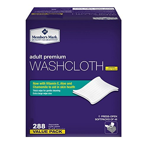Member's Mark Adult Premium Disposable Washcloth Value Pack 288 count Carton… by Simply Right