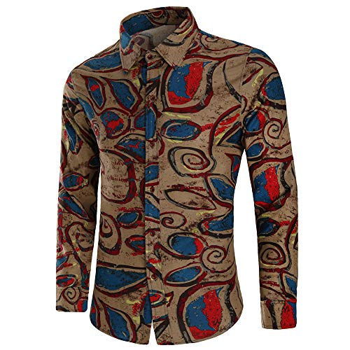 ki Tops Colorblock Printed Button Blouse Long Sleeve Casual Slim Fit Shirts (Khaki1,M) ()