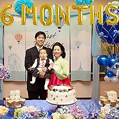 6 Months Balloons, 1/2 Year Banner, 6 Months Pregnant/One Half Year Birthday Baby Shower Party Supplies Decorations: Toys & Games