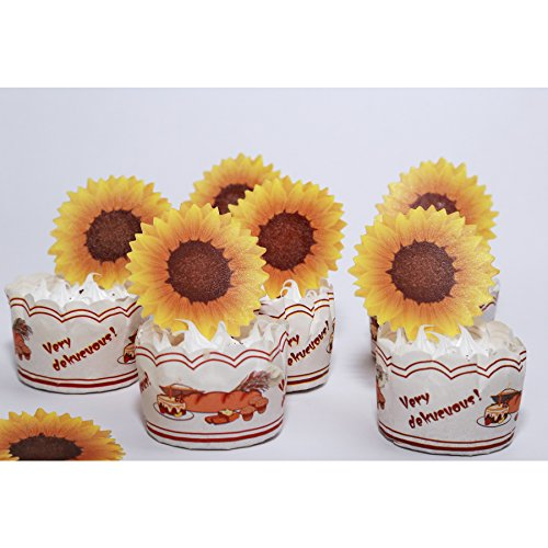 GEORLD Edible Sunflower Cake Topper Cupcake Decoration by Wafer Paper,36 Counts by GEORLD (Image #2)