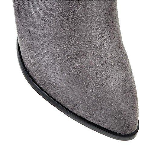 stagioni grey di levigatura gomma all'usura vero 41 HQuattro stivali corto H nero Grigio resistente fine testa Maojian antiscivolo donne tacco Uw516xO