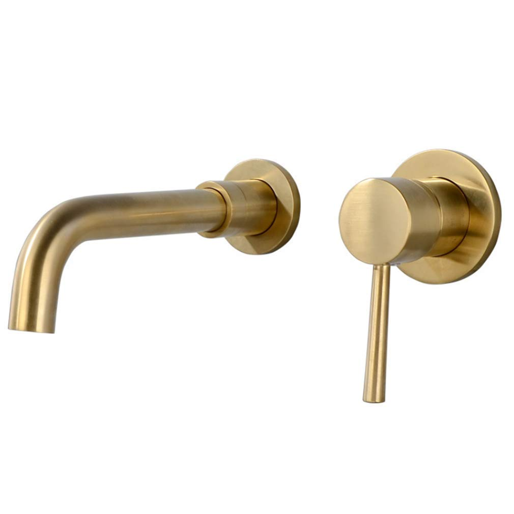 Single Hole Sink Bathroom Tap Copper-gold Face Basin Faucet is Hidden Into Wall-Type Toilet Sink Cold and Hot Water Faucet