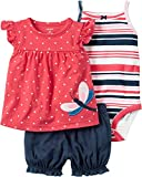 Sweet summer style is here with the baby girls 3-piece outfit set from Carter's. Combining polka dots and stripes with bright colors and a comfy cotton construction, this adorable set is perfect for playdates!