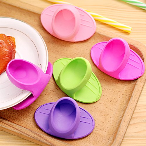 1PC Grips Mini Anti-scald Gloves Pot Holder Potholder for Kitchen Silicone Pot Holder Oven Mitt Heat Resistant Cooking Finger Protector Pinch Grips by Muhan (Image #4)