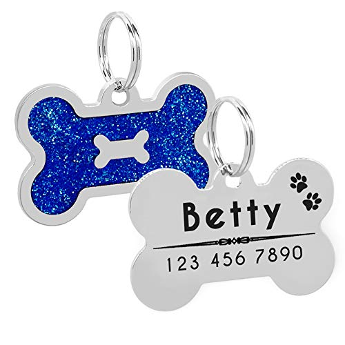 SOCHII Glitter Pet Dog ID Tags Bone Tag Customized Collar Accessories Custom Engraved Name Phone ID Tag Personalized for Dogs Cats Blue Free Size