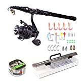 AOTSURI Spinning Rod and Reel Combos FULL KIT Fishing Pole with Reel Line Lures Hooks Fishing Carrier Case for Travel Saltwater Freshwater Fishing 2.1m Full Kit Review