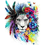 DIY Oil Painting, Komking Paintworks Paint by Numbers Kit for Adults, Lion Leader Painting Kit for Home Decor Frameless 16x20inch