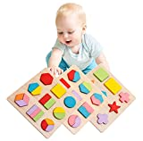 Lewo Wooden Geometric Chunky Puzzles Sorting Game Early...