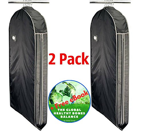 [ Global Group ] 2 Pack Richards Homewares Suit Travel Garment Bag Foldable Suit Carry Clothing Dress Storage 44