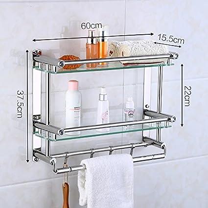 Chllq Toallas De Baño De Acero Inoxidable, 304 Baño Estante De Vidrio De Varios Pisos