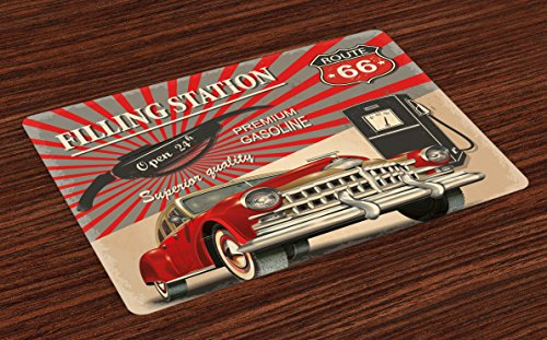 (Ambesonne Cars Place Mats Set of 4, Poster Style Image Gasoline Station Commercial Element Route 66 IllustrationPrint, Washable Fabric Placemats for Dining Room Kitchen Table Decor, Vermilion Beige)