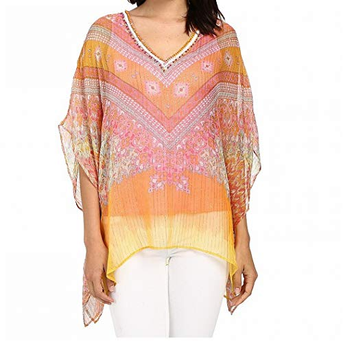 Hale Bob Women's Hide and Go Chic Poncho Silk Blouse With Lurex Coral Blouse XS