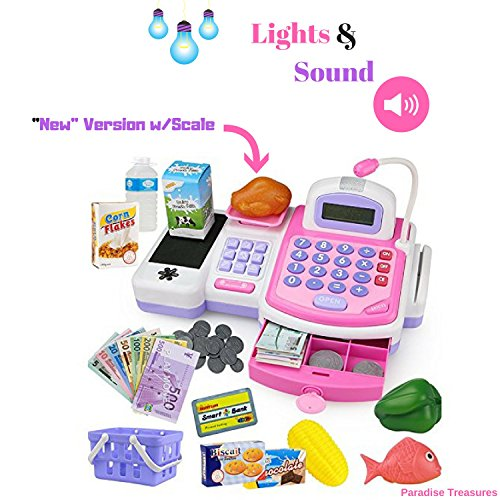 Paradise Treasures Electronic Cash Register Toy with Scale scanner and Credit Card Reader Realistic Actions & Sounds learning toy cash register for girls (Updated ()