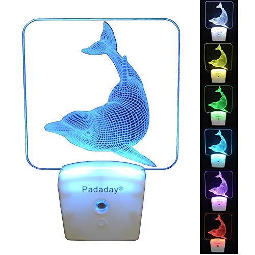 (Padaday 3D Dolphin Wall Plug-in Light, LED Night Light for Kids Bedroom, Dusk to Down Sensor, RGB 7 Colors Sleep Light)