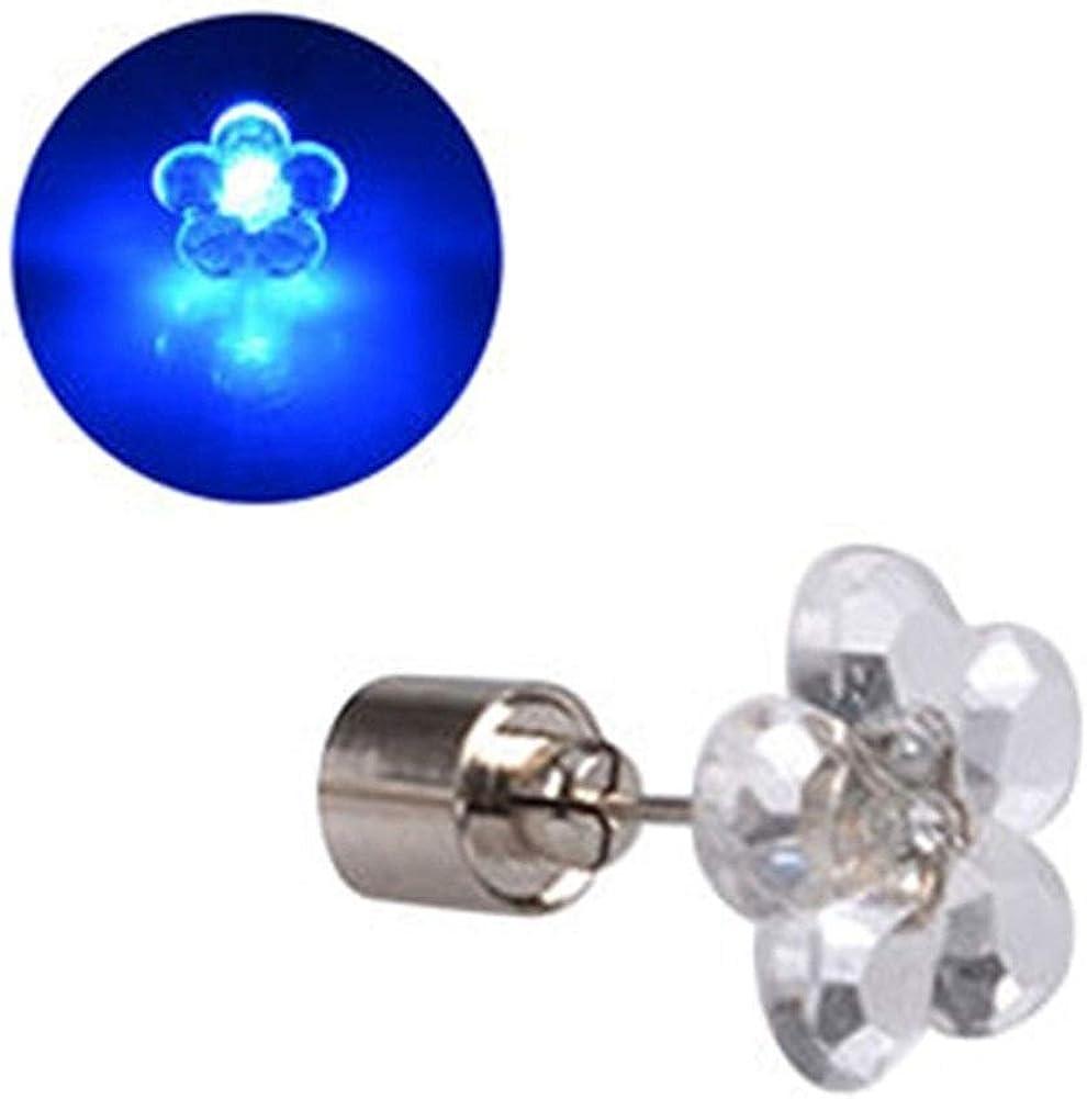 Pendientes 1 par de aretes de flores LED con baterías Pendientes resplandecientes Colgante del destello Encender Tipo de diamante Accesorios de fiesta de baile con forma de oreja de acero inoxidable (