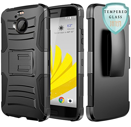 HTC Bolt Case, JATEN [Belt Clip] Rugged Hybrid Dual Layer Kickstand Holster Combo + Tempered Glass Screen Protector (Black/Black)