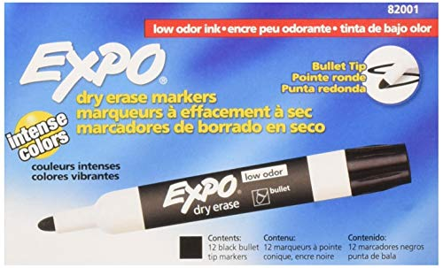 EXPO 82001 Low-Odor Bullet Black Dry Erase Markers For Use On Whiteboards, Glass and Non-porous Surfaces; Ideal for Classrooms, Offices and Homes, Pack of 12 (Tip Bullet Expo)
