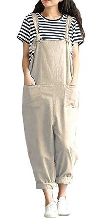51010004f1 Amazon.com  ezShe Women s Linen Loose Bib Overalls Baggy Casual ...