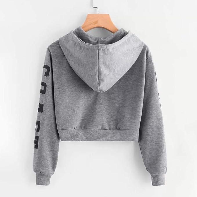 Women Teens Active Hoodie Long Sleeve Letter Print Sweatshirt Pullover Crop Top at Amazon Womens Clothing store: