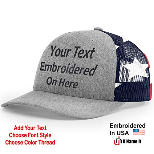 (Custom Richardson 112 Hat with Your Text Embroidered Trucker Mesh Snapback Cap (Adjustable Snapback 112PM Split, Split Heather Grey/Stars & Stripes))