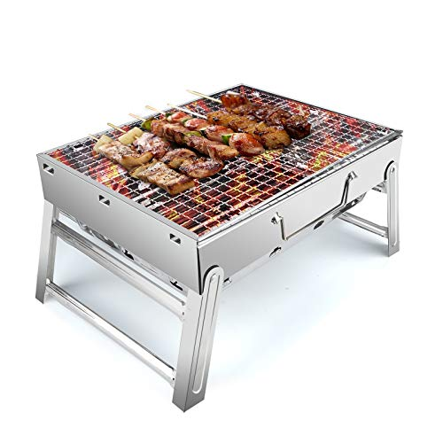 UTTORA Stainless Steel BBQ Barbecue Grill Portable Folding Charcoal BBQ Grill Table Barbecue Smoker Grill for Outdoor Picnic Garden Terrace Camping Trip